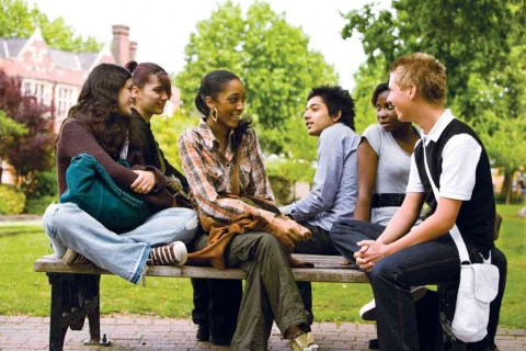 An image of a group of students chatting