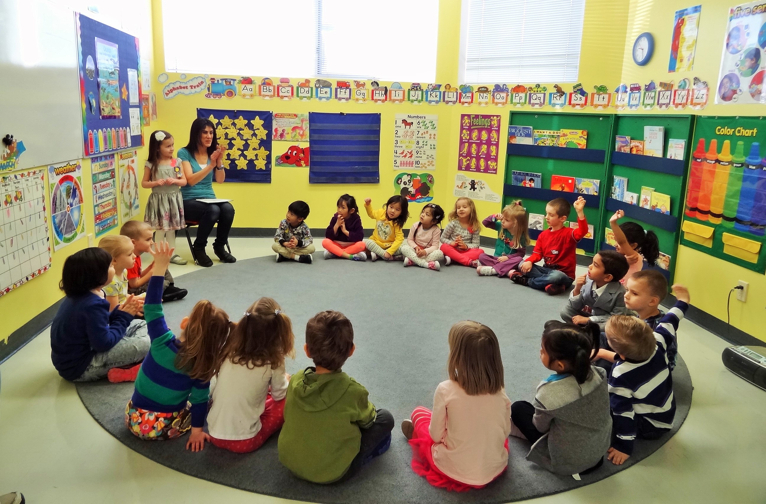 An image of a class having circle time with a teacher