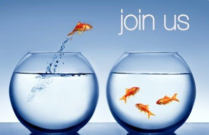 "An image of a fish jumping to join other fish with the text ""join us"""